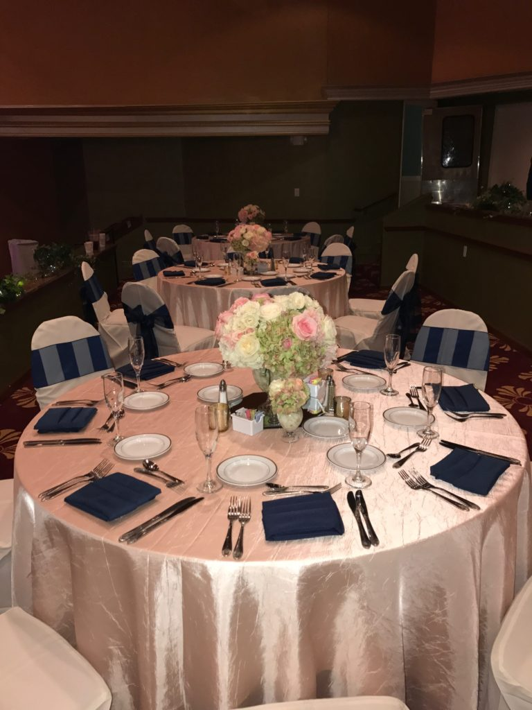 Blush Crush Tablecloths with Navy Blue Eternity Stripe Sashes and Navy Blue Napkins