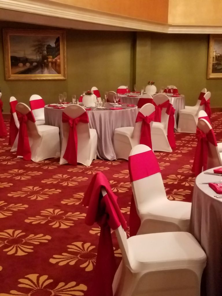 Red Satin Tablecloths and Red Satin Napkins w/ Lilac Majestic Tablecloths
